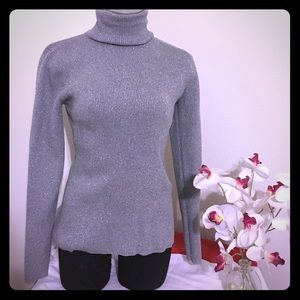 Silver sparkling Turtle neck sweater